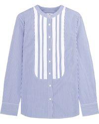 J.Crew - + Thomas Mason Grosgrain-trimmed Striped Cotton-poplin Shirt - Lyst