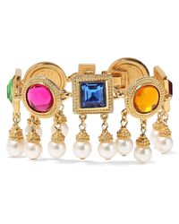 Ben-Amun - 24-karat Gold-plated, Crystal And Faux Pearl Bracelet - Lyst