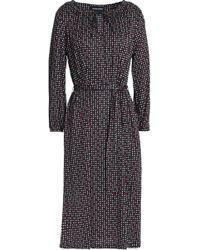 Vanessa Seward - Belted Printed Silk-jersey Dress - Lyst