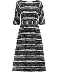 Goat - Woman Striped Cotton-canvas Midi Dress Black - Lyst