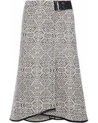 Roland Mouret - Flitter Fluted Leather-trimmed Tweed Skirt - Lyst