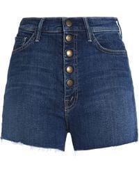 Mother - Frayed Denim Shorts Mid Denim - Lyst