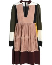 Valentino - Paneled Pleated Silk Crepe De Chine Mini Dress - Lyst