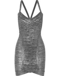 Hervé Léger | Kourtney Metallic Bandage Mini Dress | Lyst