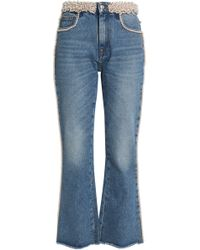 MSGM - Faux Pearl-embellished High-rise Bootcut Jeans - Lyst