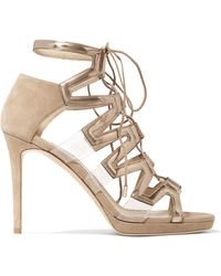 Jimmy Choo - Dani Lace-up Suede And Patent-leather Sandals - Lyst