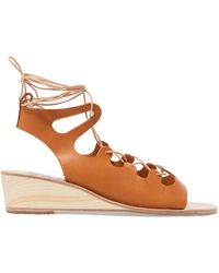 Ancient Greek Sandals | Antigone Lace-up Leather Wedge Sandals | Lyst