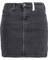 Current/Elliott - Woman Two-tone Denim Mini Skirt Charcoal - Lyst