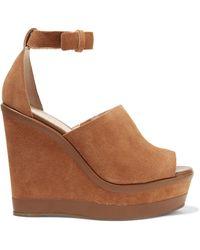Schutz - Morlen Leather-trimmed Suede Wedge Sandals Light Brown - Lyst