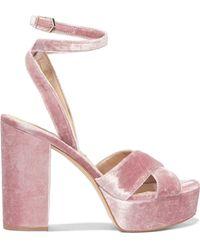 Sam Edelman - Mara Velvet Platform Sandals Antique Rose - Lyst