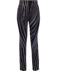 09a150eb9cda1 Roberto Cavalli - Woman Zebra-print High-rise Skinny Jeans Black - Lyst