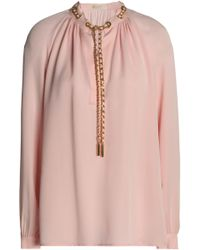 MICHAEL Michael Kors - Chain-embellished Gathered Silk Crepe De Chine Blouse - Lyst