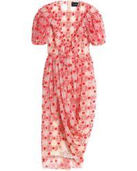Simone Rocha - Draped Embroidered Cotton-blend Tulle Midi Dress - Lyst