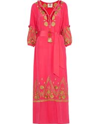 Figue - Lola Fringe-trimmed Embroidered Silk Maxi Dress - Lyst