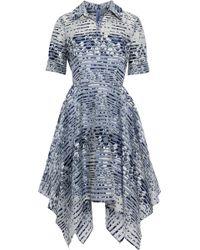 Badgley Mischka - Striped Floral-jacquard Dress - Lyst