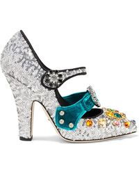 Dolce & Gabbana - Glitter Mary Jane Court Shoes - Lyst