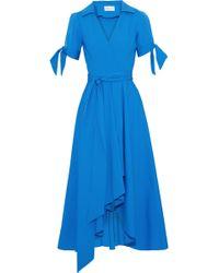 MILLY - Draped Cotton-blend Poplin Midi Shirt Dress - Lyst