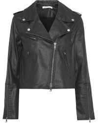 07a7b39f813f Rebecca Minkoff - Patti Cropped Coated-denim Biker Jacket Black - Lyst