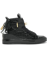 Buscemi - Embellished Croc-effect Patent-leather High-top Sneakers - Lyst