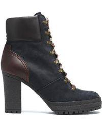 See By Chloé - Leather-paneled Nubuck Ankle Boots - Lyst