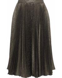 Reem Acra - Pleated Lamé Skirt - Lyst