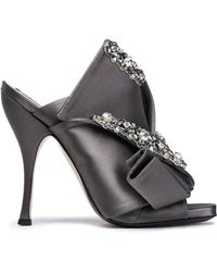 N°21 - Knotted Embellished Satin Mules - Lyst