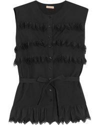 Alaïa - Alaïa Woman Ruffled Cotton-poplin Top Black Size 40 - Lyst