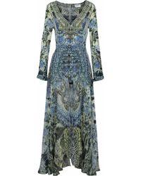 Camilla - Hush Hush Layered Embellished Printed Silk Playsuit - Lyst