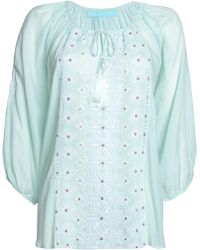 Melissa Odabash - Tali Tasseled Embroidered Voile Top - Lyst