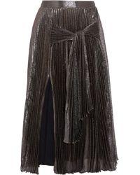 Christopher Kane | Pleated Silk-blend Lamé Midi Skirt | Lyst