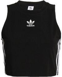 adidas Originals Cropped Striped Stretch-cotton Jersey Top Black