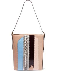 Diane von Furstenberg - Origami Paneled Watersnake And Leather Tote - Lyst