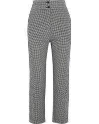 Iris & Ink Rowan Cropped Gingham Cotton Straight-leg Trousers Grey
