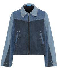 M.i.h Jeans - Folken Suede-paneled Color-block Studded Denim Jacket - Lyst
