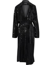 RTA - Woman Karina Satin-trimmed Sequined Jersey Trench Coat Black - Lyst