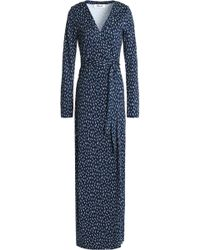 Diane von Furstenberg - New Julian Polka-dot Stretch-silk Wrap Gown - Lyst