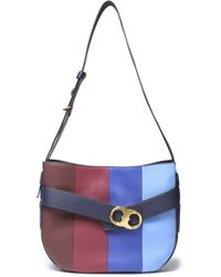 Tory Burch - Striped Leather Shoulder Bag - Lyst