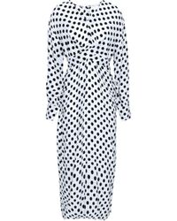Maje - Woman Belted Polka-dot Woven Midi Dress White - Lyst