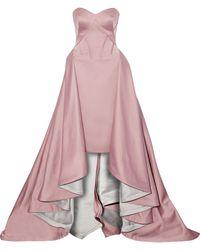 Zac Posen - Strapless Draped Silk-faille Gown - Lyst