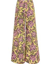 RED Valentino   Floral-print Stretch-cotton Wide-leg Trousers   Lyst