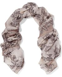 Valentino - Printed Cotton And Silk-blend Scarf - Lyst