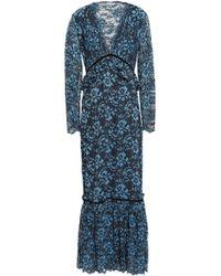 Ganni Flynn Velvet-trimmed Lace Maxi Dress Midnight Blue