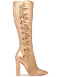 Gianvito Rossi - Metallic Leather Knee Boots - Lyst