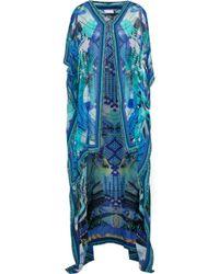 Camilla Embellished Printed Silk Kaftan Cobalt Blue
