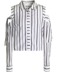 MILLY - Riley Cold-shoulder Striped Cotton-poplin Shirt - Lyst