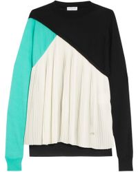 Vionnet - Pleated Silk-paneled Wool, Cashmere And Silk-blend Sweater - Lyst