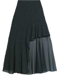Rosetta Getty - Asymmetric Ruffled Fil Coupé Chiffon Skirt Dark Green - Lyst