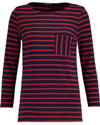 Petit Bateau - Striped Cotton-jersey Top Midnight Blue Size Xxs - Lyst