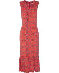SUNO - Fluted Floral-print Silk-blend Midi Dress - Lyst