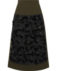 Marni - Embellished Crepe-paneled Wool And Cotton-blend Skirt - Lyst